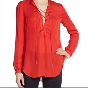 Haute hippy red lace up silk long sleeve blouse
